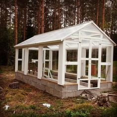 Greenhouse made of upcycled windows, 230x550cm