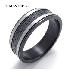 Fashion Men's Jewelry 316L Stainless Steel Supper Cool Black Greek Key Ring Titanium Ring Free Shipping
