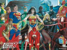 Justice League of America Limited Edition Art Print by US artist Alex Ross.This official numbered edition is under licence with DC Comics. Alex Ross, Aquaman, Comic Book Artists, Comic Books Art, Comic Art, Comic Pics, Dc Movies, Comic Movies, Green Arrow