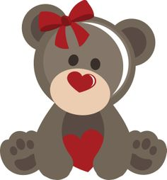 PPbN Designs - Girl Valentine Bear, $0.50 (http://www.ppbndesigns.com/girl-valentine-bear/) #SVG,#cuttingfiles,#silhouetteamerica,#SVGfiles