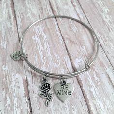 Valentine's Day Gift- be mine bangle bracelet, gift for her, girlfriend gift, wife gift, Valentine's Day jewelry, girlfriend jewelry, love by WineNot781 on Etsy https://www.etsy.com/listing/500671921/valentines-day-gift-be-mine-bangle