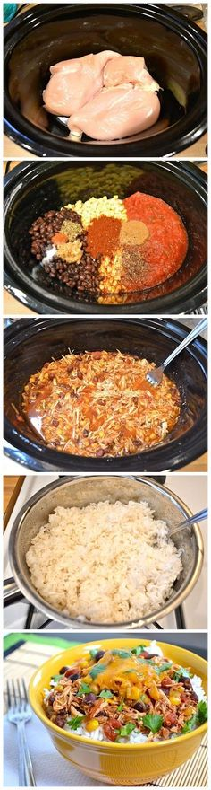 Crock Pot Taco Chicken Bowls - easy to make and pretty tasty! I had it both over rice and with corn chips like a dip and it was great. Slow Cooker Taco Chicken Bowls are the ultimate Crock Pot Recipes, Crock Pot Cooking, Slow Cooker Recipes, Chicken Recipes, Cooking Recipes, Healthy Recipes, Crockpot Meals, Crock Pots, Crockpot Dishes