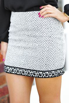 Beautiful In Business Skirt: Black/White