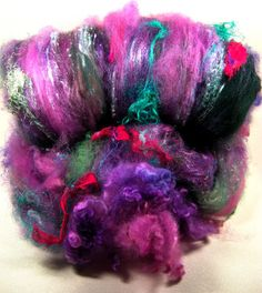 Lolita Wild Card Bling Batt for Spinning and Felting by yarnwench, $30.00