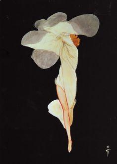 Rene Gruau, Flower Woman, c. early 20th century.