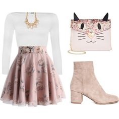 pink by tania-alves on Polyvore featuring WearAll, Chicwish, Betsey Johnson and Forever 21