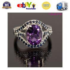 Amethyst Blue Purple Sapphire Gemstone Jewelry Ring 925 Sterling Silver Size 7