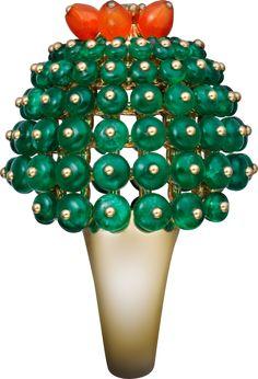 Cactus de Cartier ring Yellow gold, emeralds, carnelians, diamonds