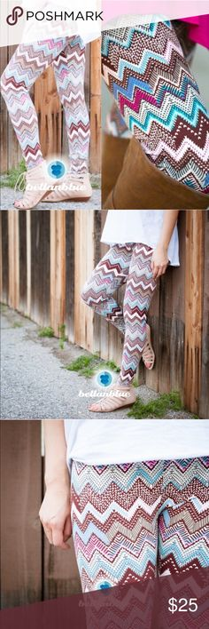 The JOCELYN chevron leggings - PINK MIX Buttery soft is the only way I can describe these UBER UBER soft leggings. Great for spring since they very breathable. ONE SIZE FITS MOST. Fits S-L. ‼️NO TRADE, PRICE FIRM‼️ Bellanblue Pants Leggings