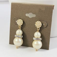 Strand Pearls Surrounded Crystal Drop Earring - Wedding Diary