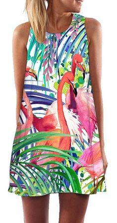 Women's Tropical Flamingo Print Shift Dress - Just Pink About It Tropical Fashion, Pink Fashion, Flamingo Outfit, Short Summer Dresses, Dress Summer, Flamingo Print, Flamingo Party, Print Chiffon, Chiffon Dress