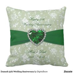 Shop Bold Damask Wedding Anniversary Throw Pillow created by Digitalbcon. Custom Pillows, Decorative Pillows, Emerald Wedding Anniversary, Modern Save The Dates, Garden Bedroom, Wedding Pillows, Save The Date Postcards, Wedding Color Schemes, Damask