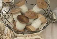 and wooden spools