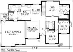 Ranch Style House Plan - 3 Beds 2 Baths 1814 Sq/Ft Plan #70-1165 Floor Plan - Main Floor Plan - Houseplans.com