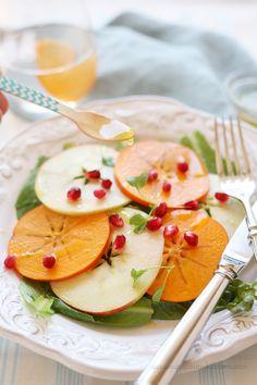 Beautiful fall & winter salad of persimmon, apple, and pomegranate. #salad #recipe #vegan