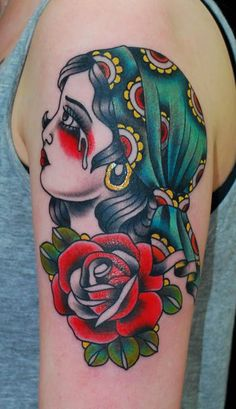 tattoo old school / traditional nautic ink - doll face / crying pinup