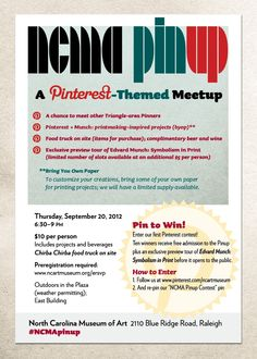 Mark your calendars for the second NCMA Pinup event on Thursday, September 20, 2012! #NCMApinup Register here: https://www.ncmoa.org/interim/secure/ Additional information: http://ncartmuseum.org/calendar/event/2012/09/20/ncma_pinup/1830
