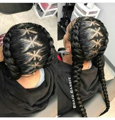 35 Absolutely Beautiful Feed In Braid Hairstyles – Part 35 - Box Braids Hairstyles Two Braids, Braids For Kids, Girls Braids, 2 Feed In Braids, Two Goddess Braids, Braids Cornrows, Small Braids, Feed In Braids Hairstyles, Little Girl Hairstyles