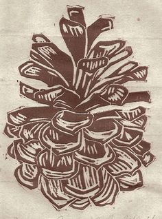 Pine Cone, editioned Woodblock print on Japanese Washi with Inclusions.