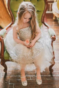 White and Gold Wedding. Gold Sequin Tulle. 41 Flower Girl Dresses