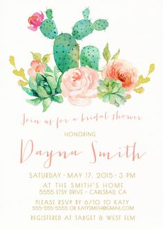 Girl Bridal Shower Invitation, Succulent, Watercolor, Flowers, Desert Wedding Invites