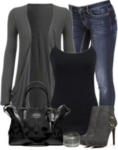 #fall #outfits / Grey Cardigan + High Heel Bootie