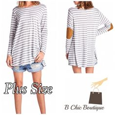 Plus Size Elbow Patch Tunic Super soft elbow patch grey striped tunic. Perfect to wear on any occasion or day. Made of poly rayon blend. April Spirit Tops Tunics