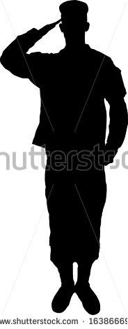 Saluting army soldier's silhouette vector - stock vector