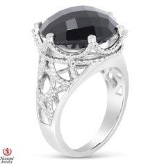 Ebay NissoniJewelry presents - Ladies Black Onyx Fashion Ring in Sterling Silver    Model Number:FR8015-SIOX    http://www.ebay.com/itm/Ladies-Black-Onyx-Fashion-Ring-in-Sterling-Silver/321857632896
