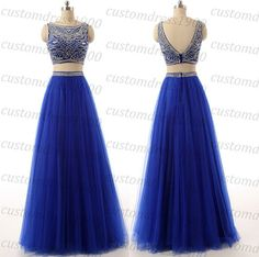 Two Pieces Long evening dressroyal blue evening by customdress1900