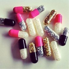 Glitter emergency pills. Bad day? Open a pill, throw glitter around! This is hilarious and I love it.