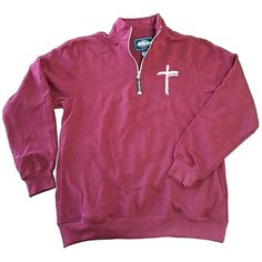 Embroidered Quarter Zip Maroon Pullover. To order go to www.crosspowerlife.com/Believe