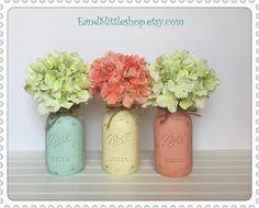 Mason Jars Set of 3-Shabby Chic Decor-Wedding by EandSlittleShop