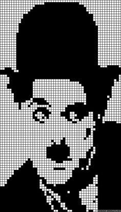 Alpha pattern of Charlie Chaplin created by Jorclown Perler Patterns, Loom Patterns, Cross Stitch Patterns, Beading Patterns, Cross Stitch Silhouette, Pixel Crochet, Pix Art, Pixel Pattern, Stitch Book