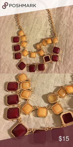 Red &a Gold Statement Necklace Well-kept red and gold (or yellow depending on how you see it) necklace. Clasp is in tact and no jewels are missing. Jewelry Necklaces
