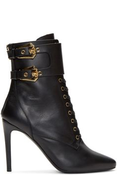 89464842465f88 Balmain for Women AW15 Collection Leather Lace Up Boots, Black Lace Up  Boots, Lace