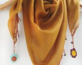 Mustard color scarf made by bead and lace handiwork on edge / Spring and summer scarf / Square scarf