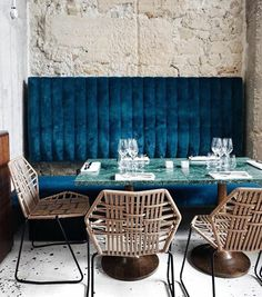 Dining booth with blue velvet upholstery, by sfgirlbybay Restaurant Interior Design, Cafe Interior, Interior Exterior, Restaurant Interiors, Dining Room Banquette, Dining Booth, Kitchen Booth Seating, Dining Chairs, Lounge Chairs