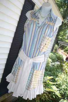Upcycled Shirt Dress From Button Down Mens by Annierosevintage, $79.00