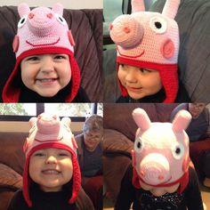 Touquinha da Peppa Pig de crochê. Peppa Pig's crochet hat.