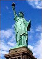 "The Statue of Liberty (""Liberty Enlightening the World"") is a 225-ton, steel-reinforced copper female figure, 151 ft 1 in. (46.05 m) in height, facing the ocean from Liberty Island1 in New York Harbor. The right hand holds aloft a torch, and the left hand carries a tablet upon which is inscribed: ""July IV MDCCLXXVI."" The statue was designed by Fredéric Auguste Bartholdi of Alsace as a gift to the United States from the people of France to memorialize the alliance of the two countries in the…"