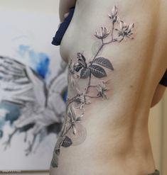목련 꽃 타투 by 타투이스트 리버 / Magnolia flower tattoo / 목련 타투 / 꽃 타투 / 분당 타투 / 꽃 문신 / 식물 타투