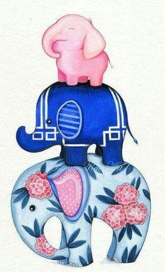 Pink Elephant Is The Top Elephant! Elephant Art - Fabric Elephant Stack - Caitlin Wilson Textiles - Painting by Annya Kai Elephant Love, Elephant Art, Small Elephant, Vintage Elephant, Indian Elephant, Elephant Nursery, Elephant Wallpaper, Iphone Wallpaper, Kawaii Wallpaper