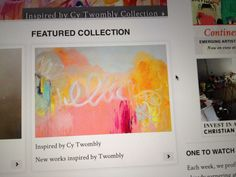 """In case you missed it, my art is on the home page of Saatchi art, this week (Apr. 21st), in the """"Inspired by Cy Twombly"""" collection. This painting is called """"Don't Think Twice""""."""