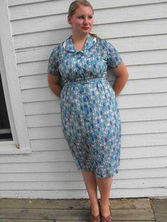 Vintage 50s Blue Sheer Print Dress XL L 16 by soulrust on Etsy, $99.99