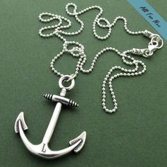 Silver Anchor Necklace on Leather Cord for Men / Nautical Neckla