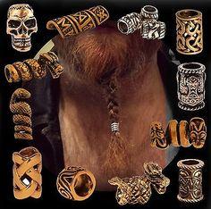 GBP - Hair Beard Bead Ring Bronze For Viking Celtic Northman Dreadlock Pirate Medieval Hot Hair Styles, Hair And Beard Styles, Viking Beard Styles, Beard Decorations, Vikings, Beard Rings, Beard Jewelry, Loc Jewelry, Jewellery