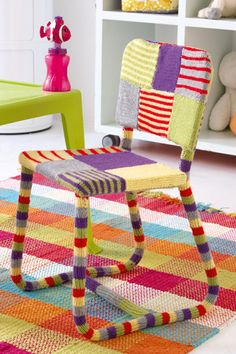 Brighten up a room by yarnbombing a chair!