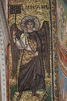 My favorite angel. Sant'Apollinare in Classe: mosaic of Archangel Michael (Ravenna, Italy Religious Images, Religious Icons, Religious Art, Byzantine Art, Byzantine Icons, Byzantine Architecture, Art And Architecture, Roman History, Art History