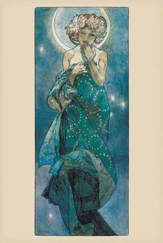 Alphonse Mucha-Moon, Art Poster Print, 24 by 36-Inch $0.92
